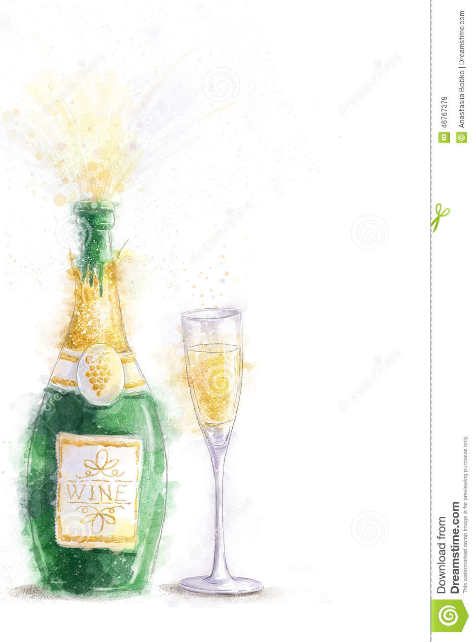 bottle of champagne with splashes on white background with the glassparty invitation new