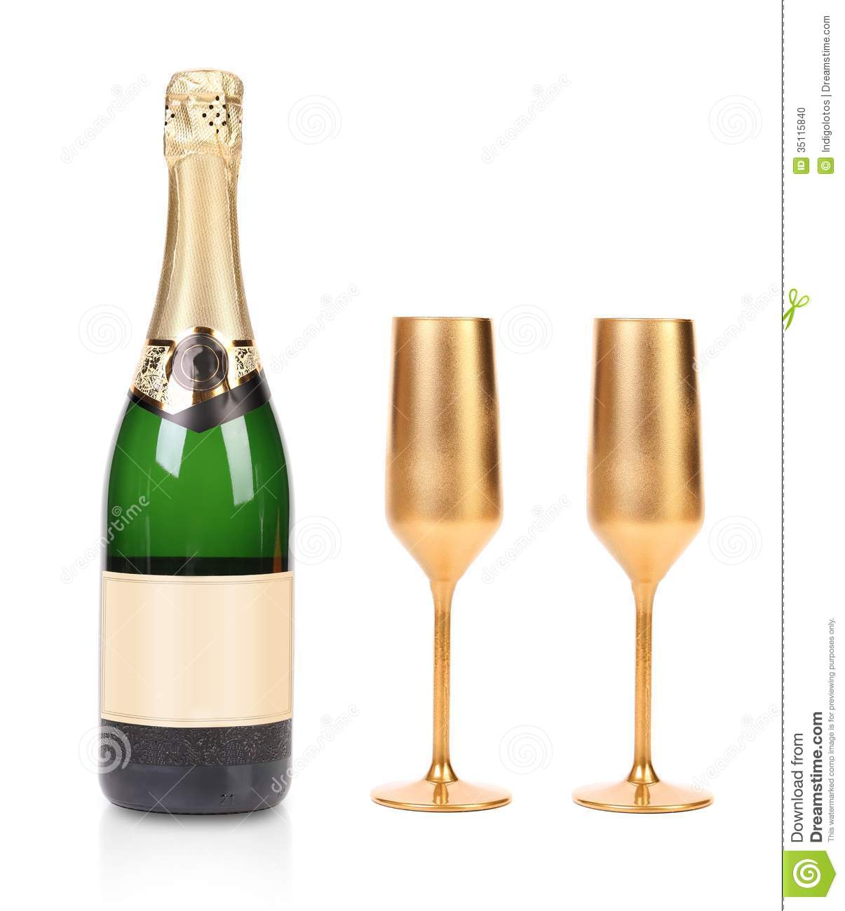 Bottle Of Champagne And Two Golden Glasses Stock Photo