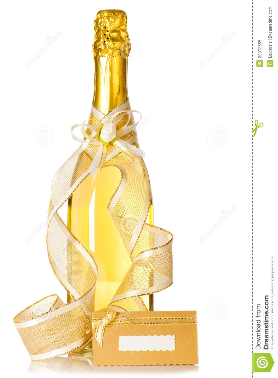Bottle Of Champagne And Wedding Invitation Card Royalty