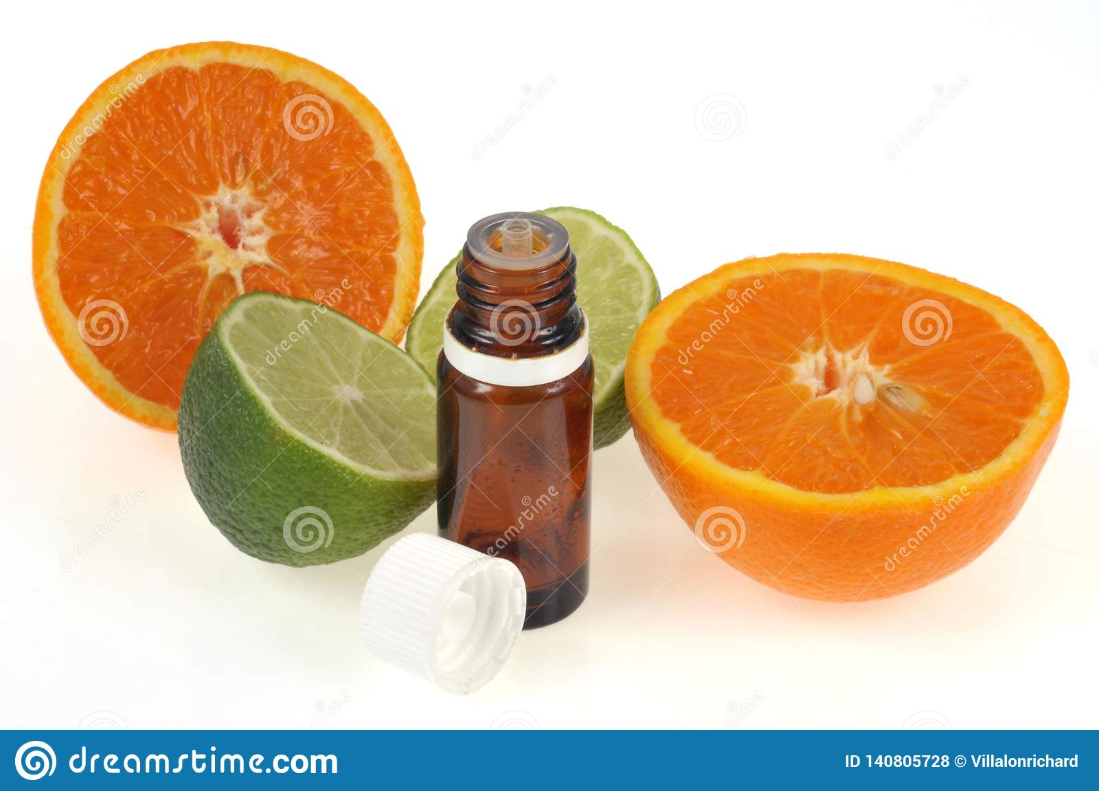Bottle of citrus essential oil