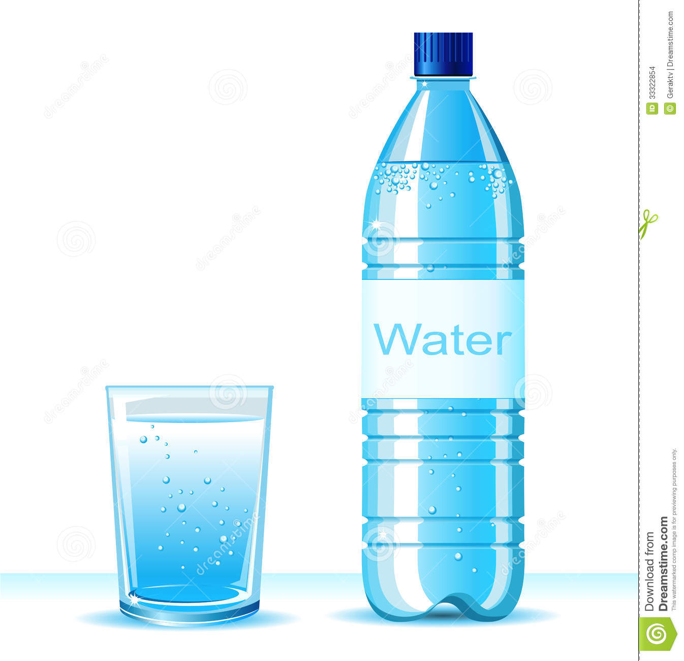 Water Bottle Vector: Bottle Of Clean Water And Glass On White Backgroun Stock