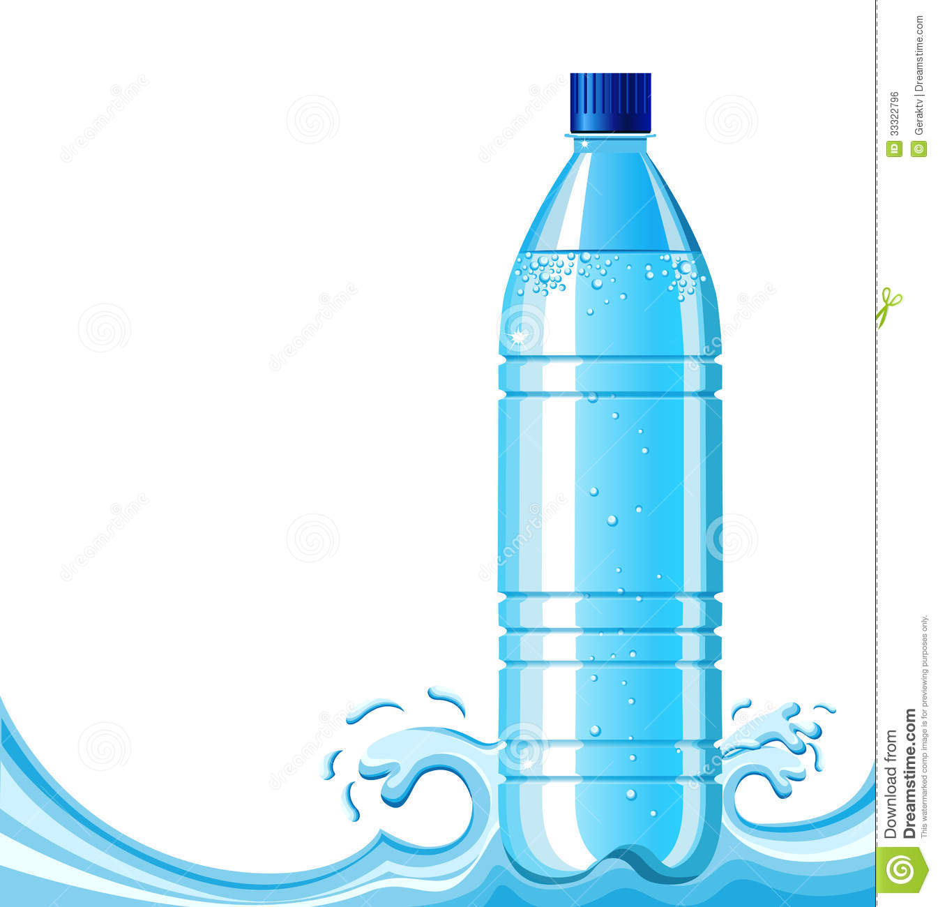 Water Bottle Vector: Bottle Of Clean Water And Splashing Background .Ve Royalty