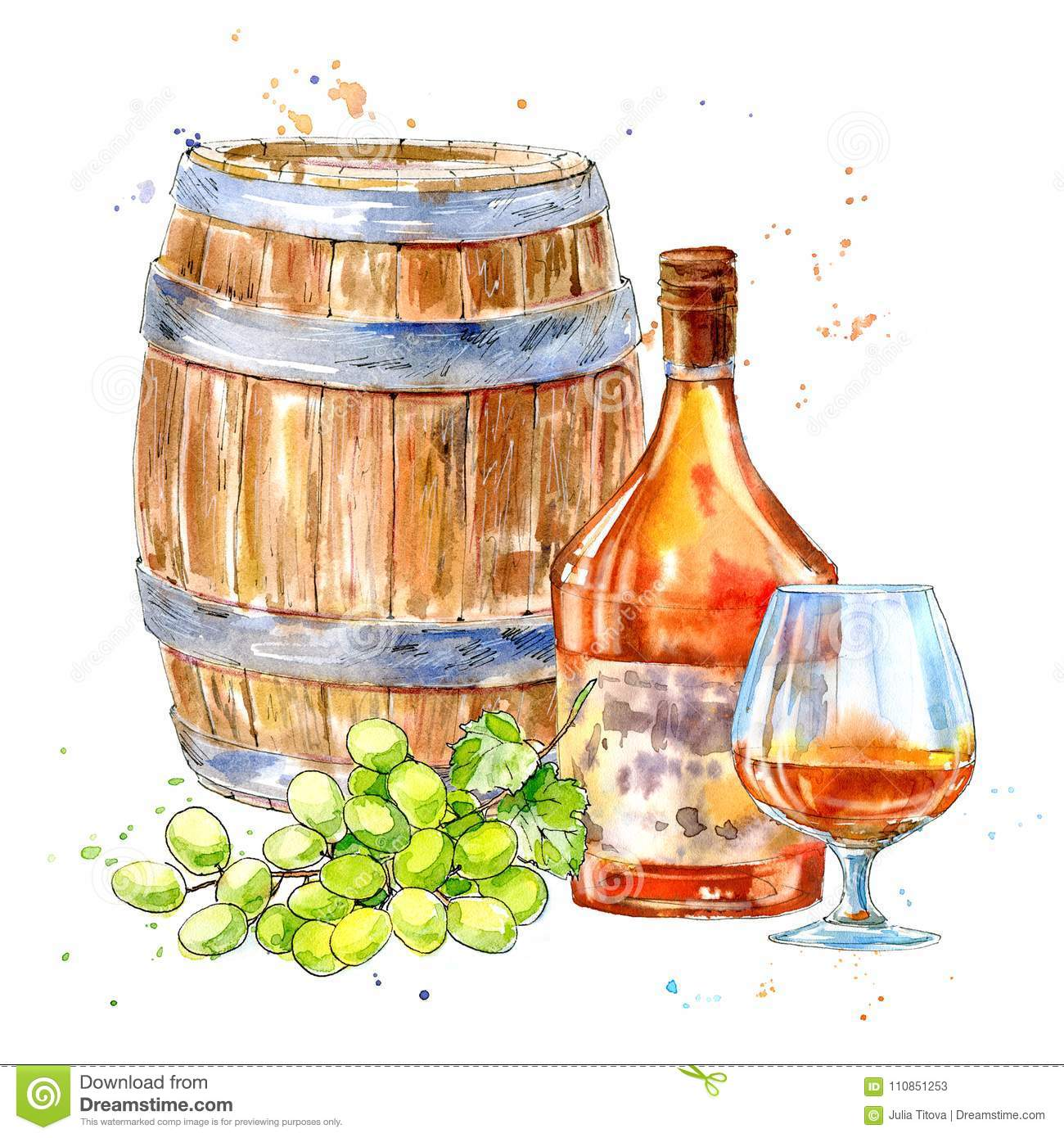 Bottle of cognac,wooden barrel,grapes and glasses.