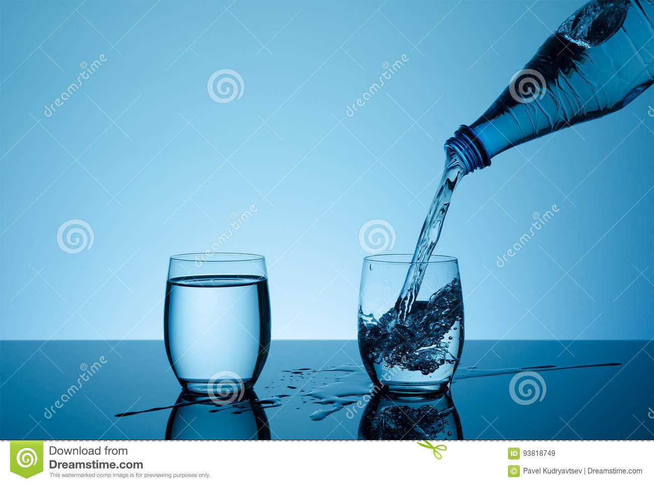 Pure Water Splashing From Bottle Into Glass Royalty-Free ...