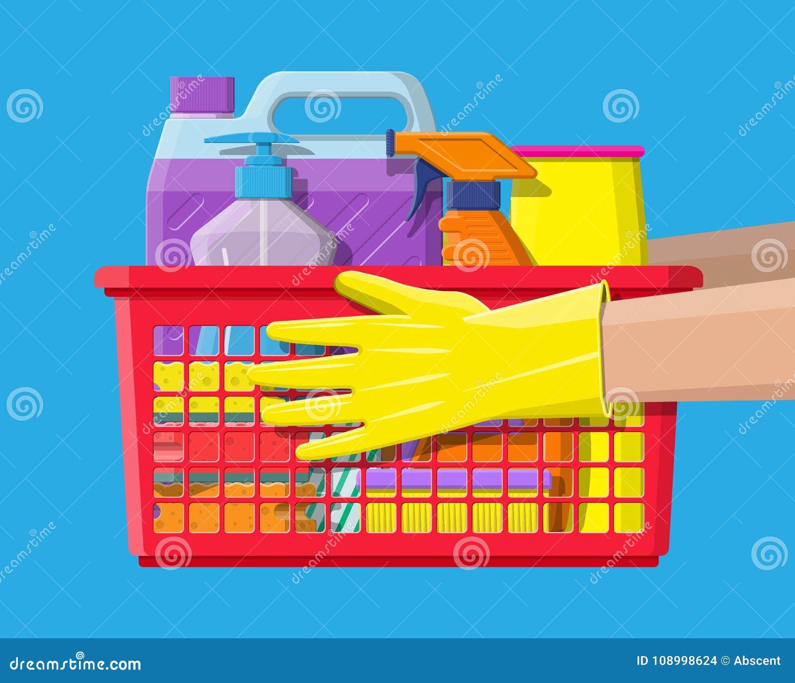 Bottle of detergent sponge soap and rubber gloves