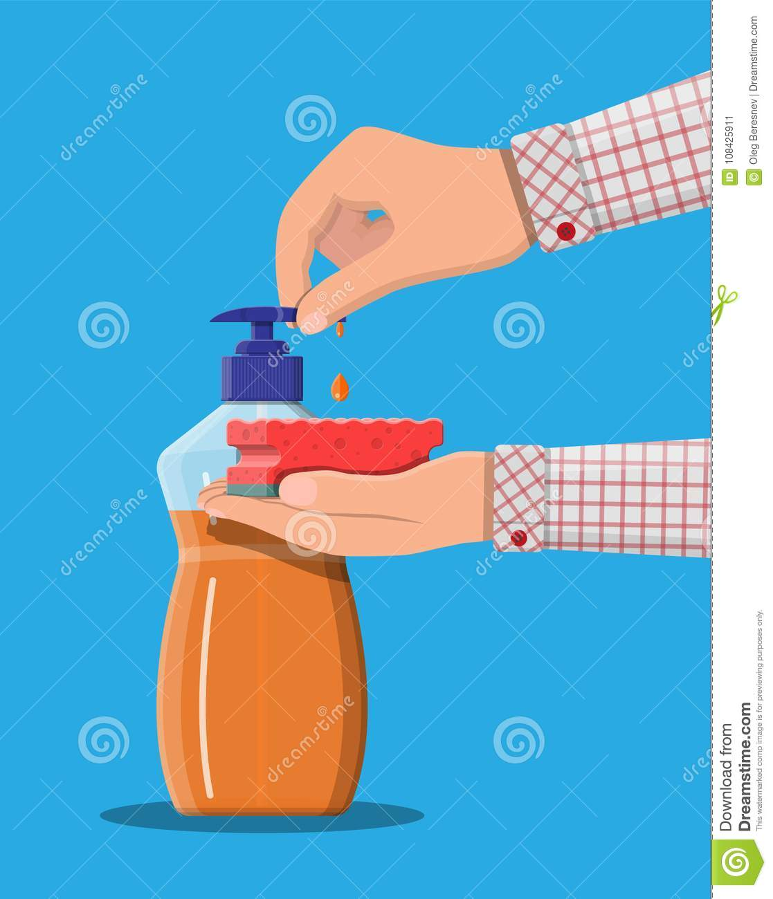 Bottle with dispenser and sponge in hands.