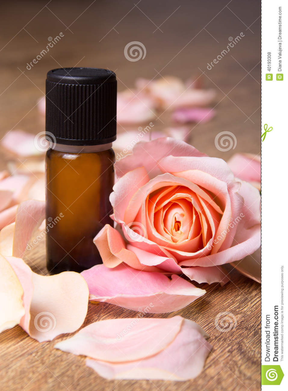 Bottle of essential oil and rose petals stock photo image 40193308 - Rose essential oil business ...
