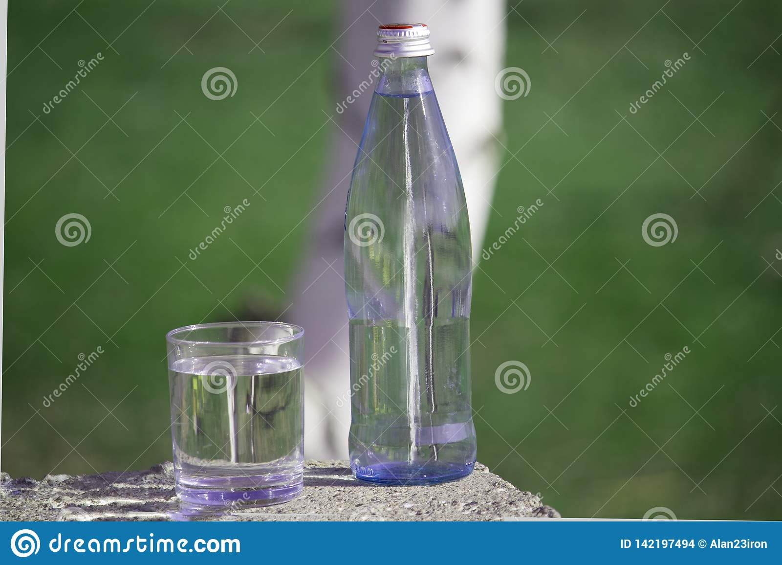 Bottle and glass with fresh  water on grass  background.