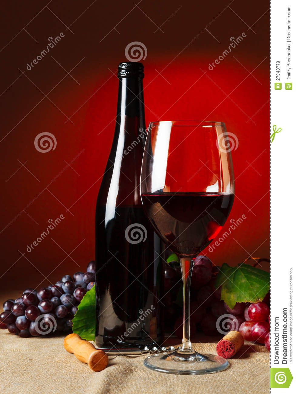 Bottle And Glass Of Red Wine Stock Photo Image 27340778