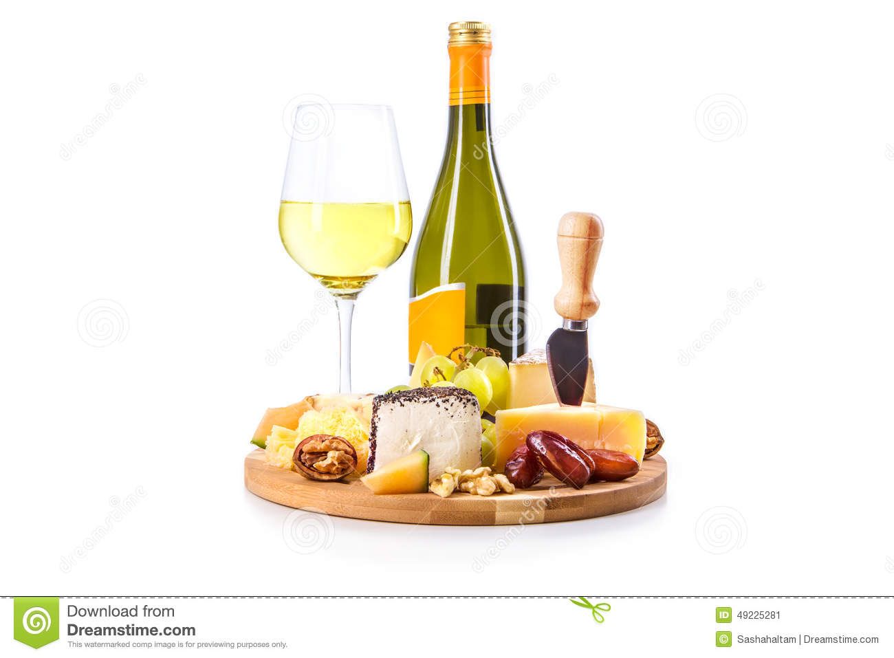 Bottle and glass of white wine with cheese plate  sc 1 st  Dreamstime.com & Bottle And Glass Of White Wine With Cheese Plate Stock Image ...