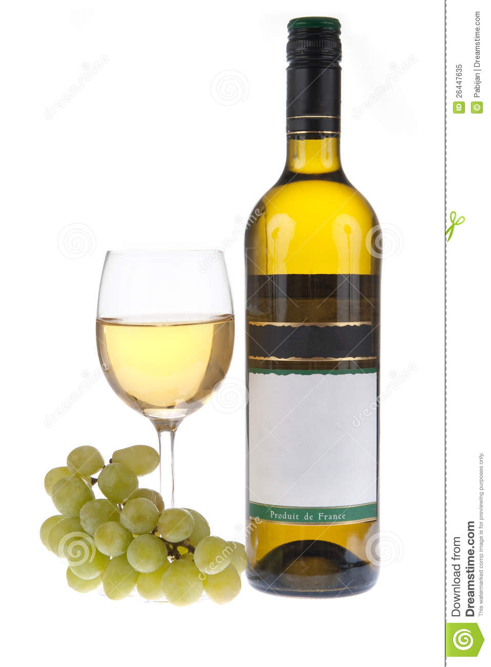 Bottle and glass of white wine with grapes stock image for Glass bottles for wine