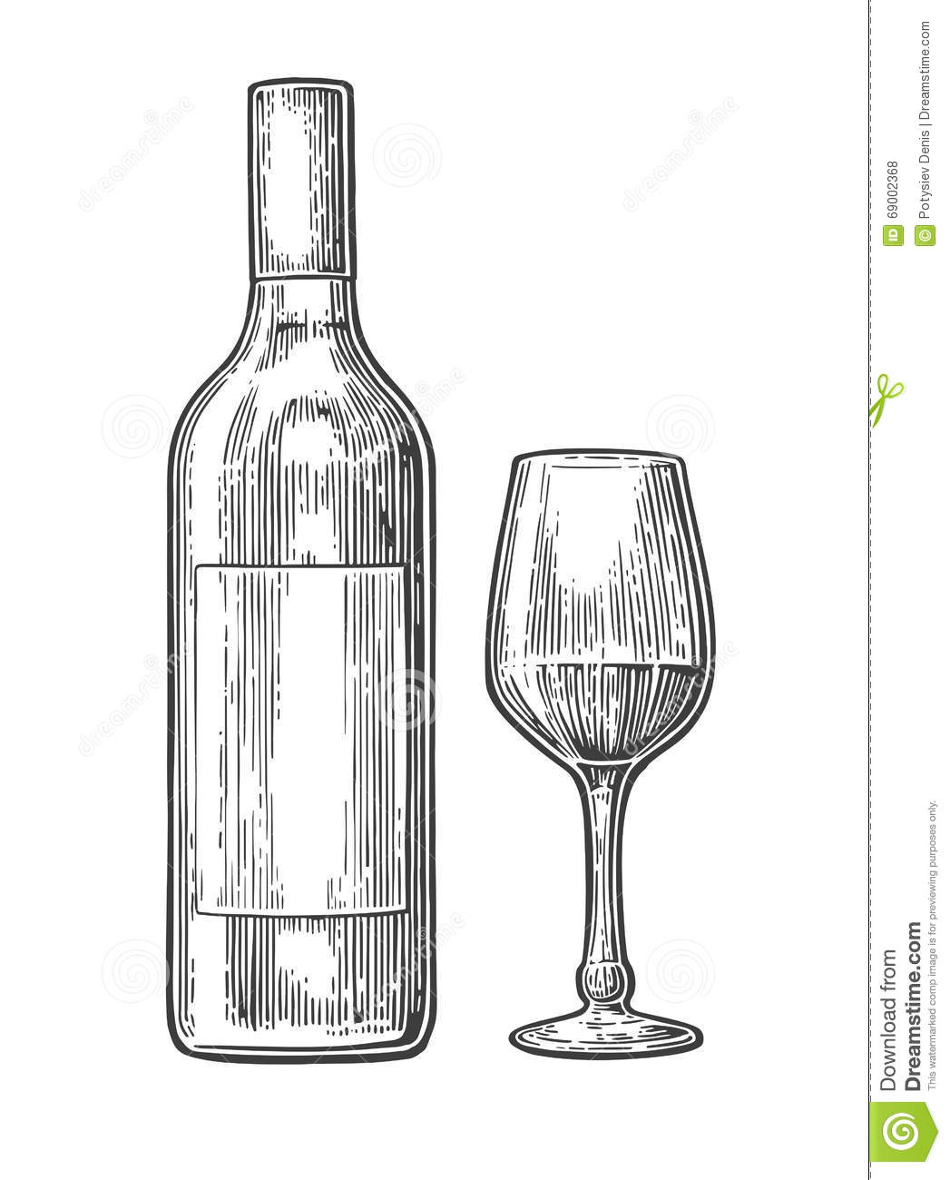 Bottle And Glass With Wine Black Vintage Engraved Illustration On White Background For Label Poster Web