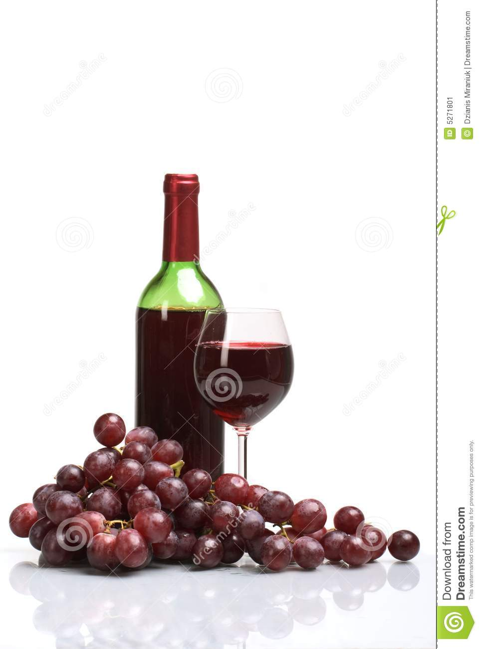 Bottle And Glass Of Wine On White Background Stock Image