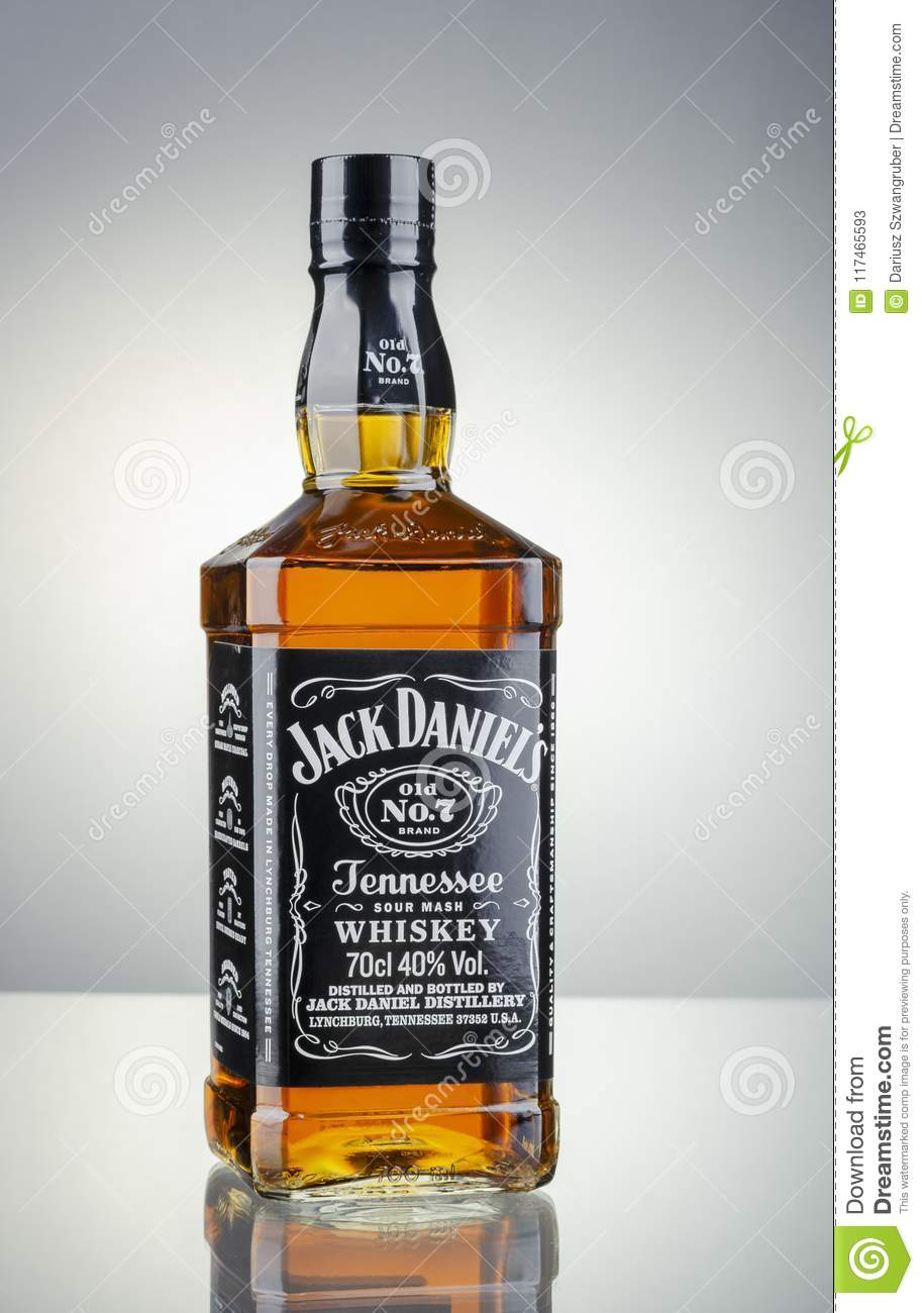 bottle of jack daniels whiskey isolated on gradient background