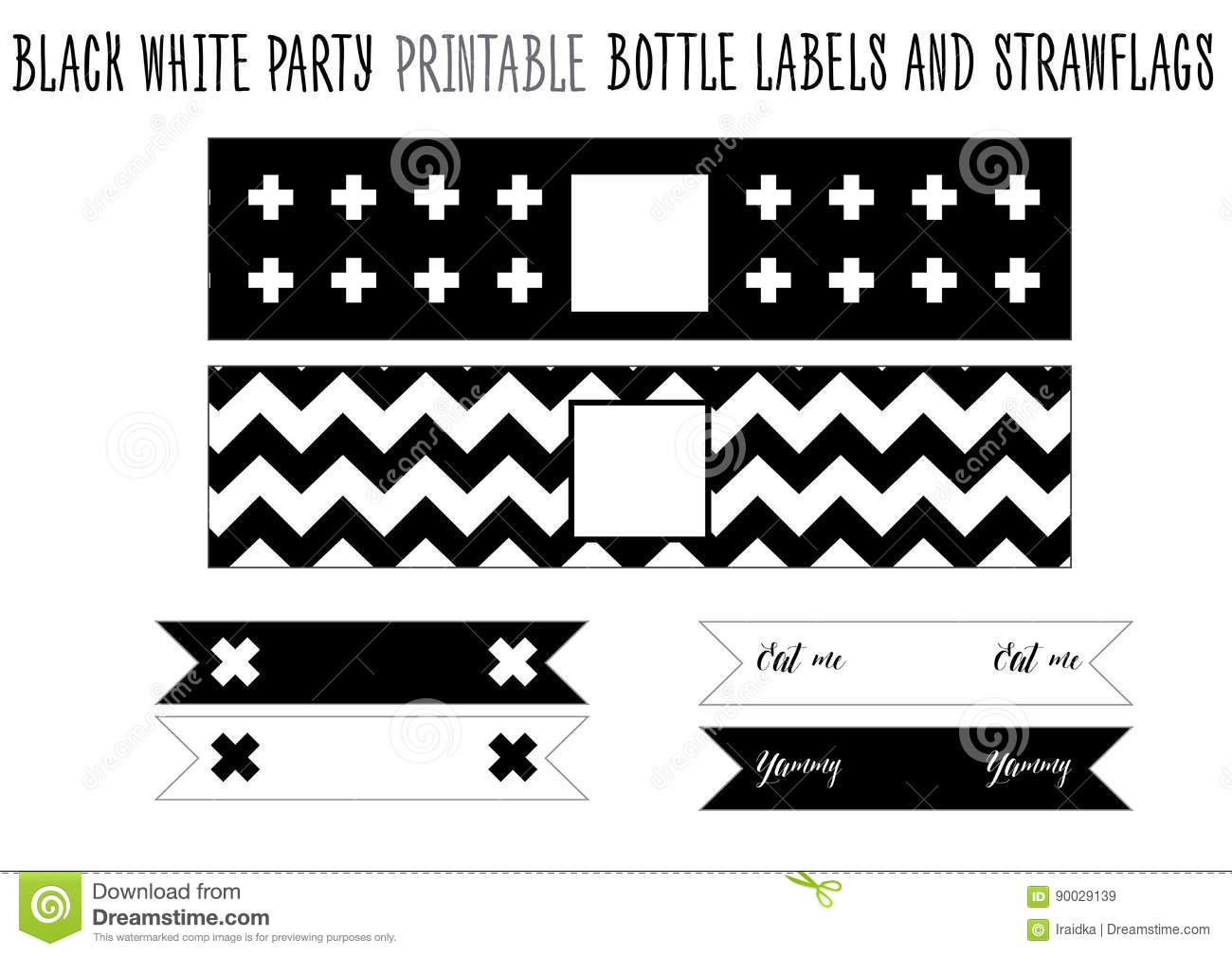 bottle label and strawflags printable for black and white party