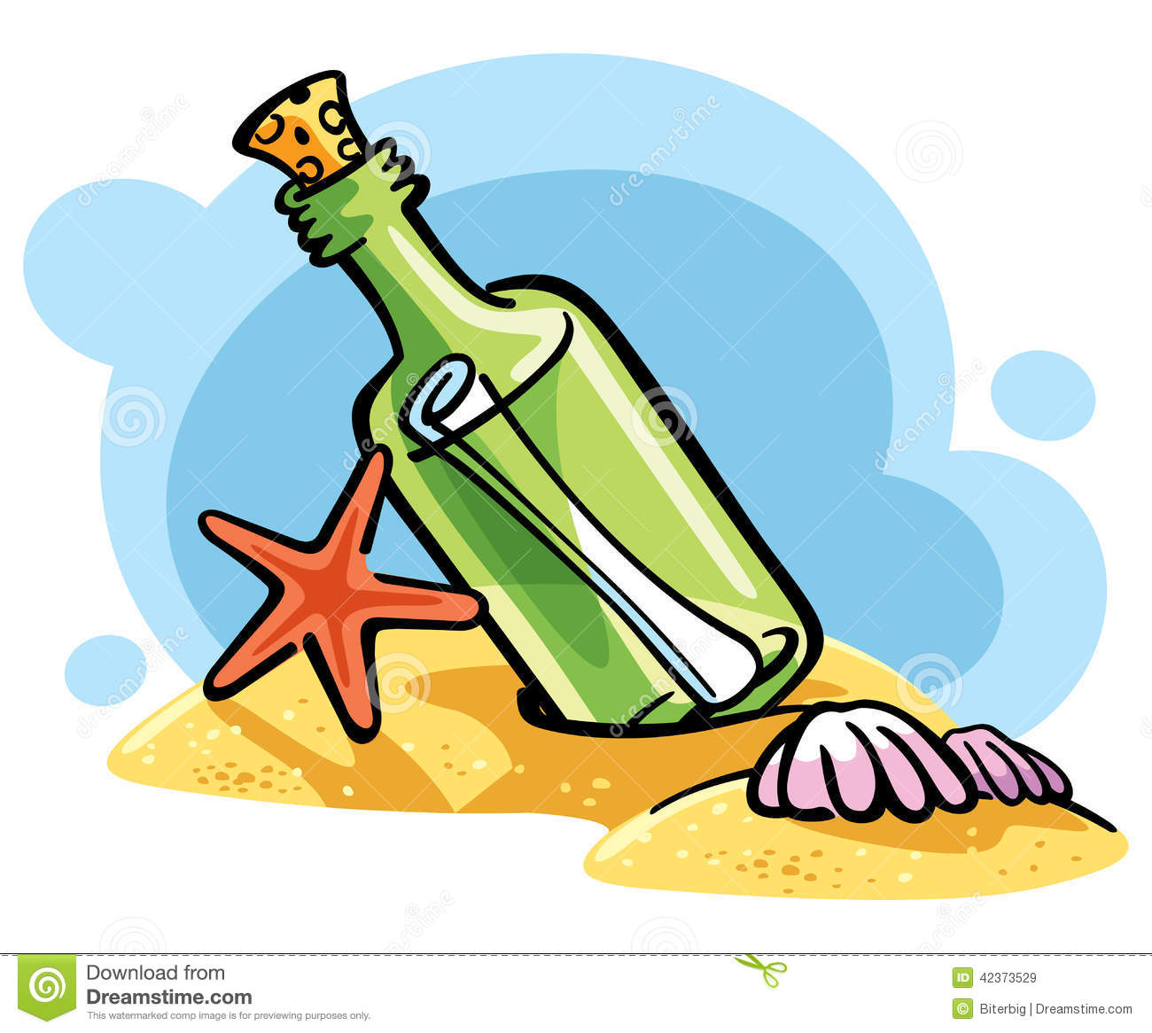 Message Clip Art : Bottle with a message on the sand stock vector