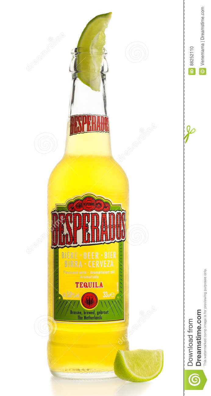 Bottle Of Mexican Desperados Tequila Beer With Lime Wedge Editorial Image Image Of White Tequila 88252110