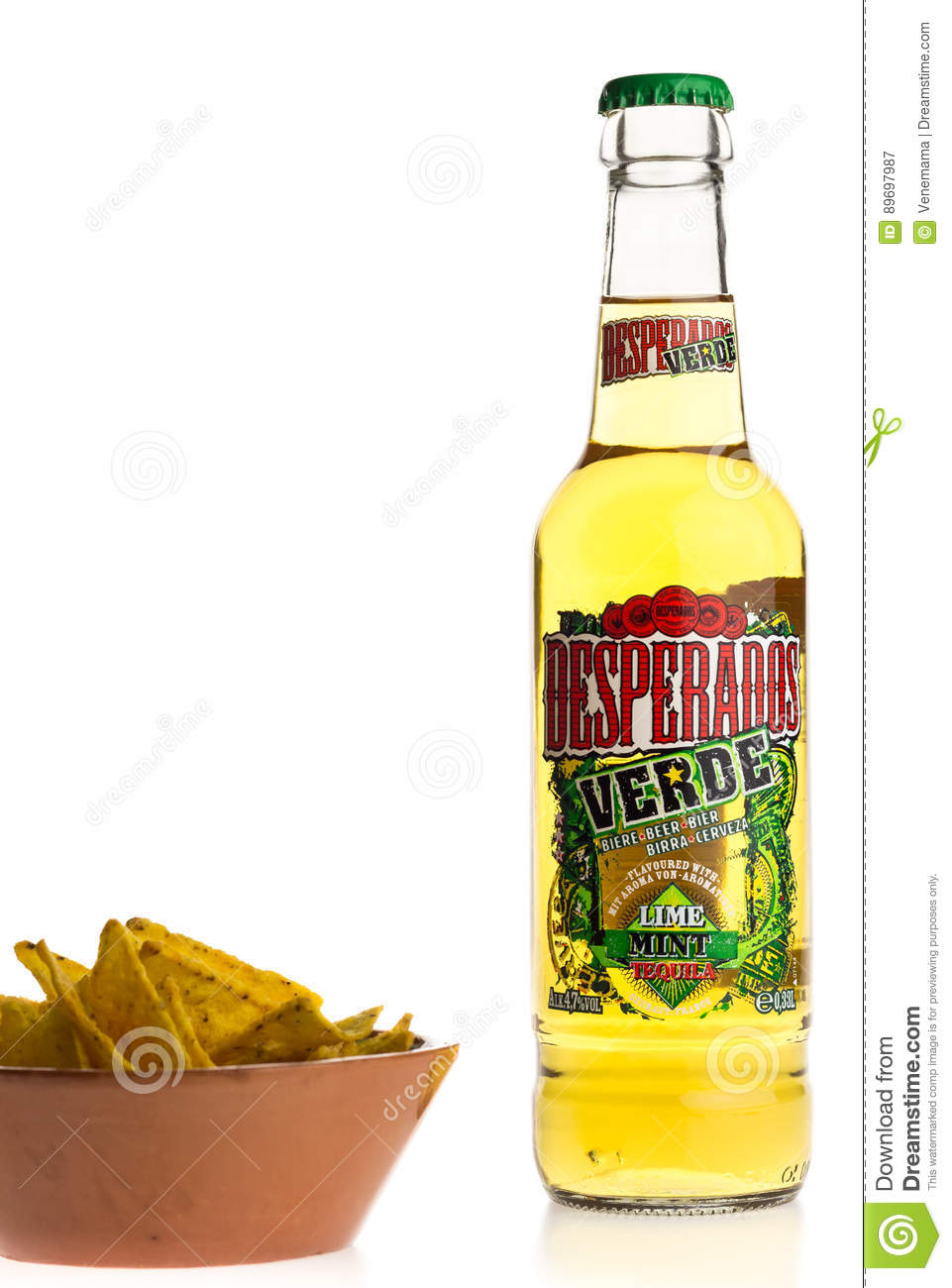 Bottle Of Mexican Desperados Verde Beer With Nachos Editorial Photography Image Of Appetizer Alcohol 89697987