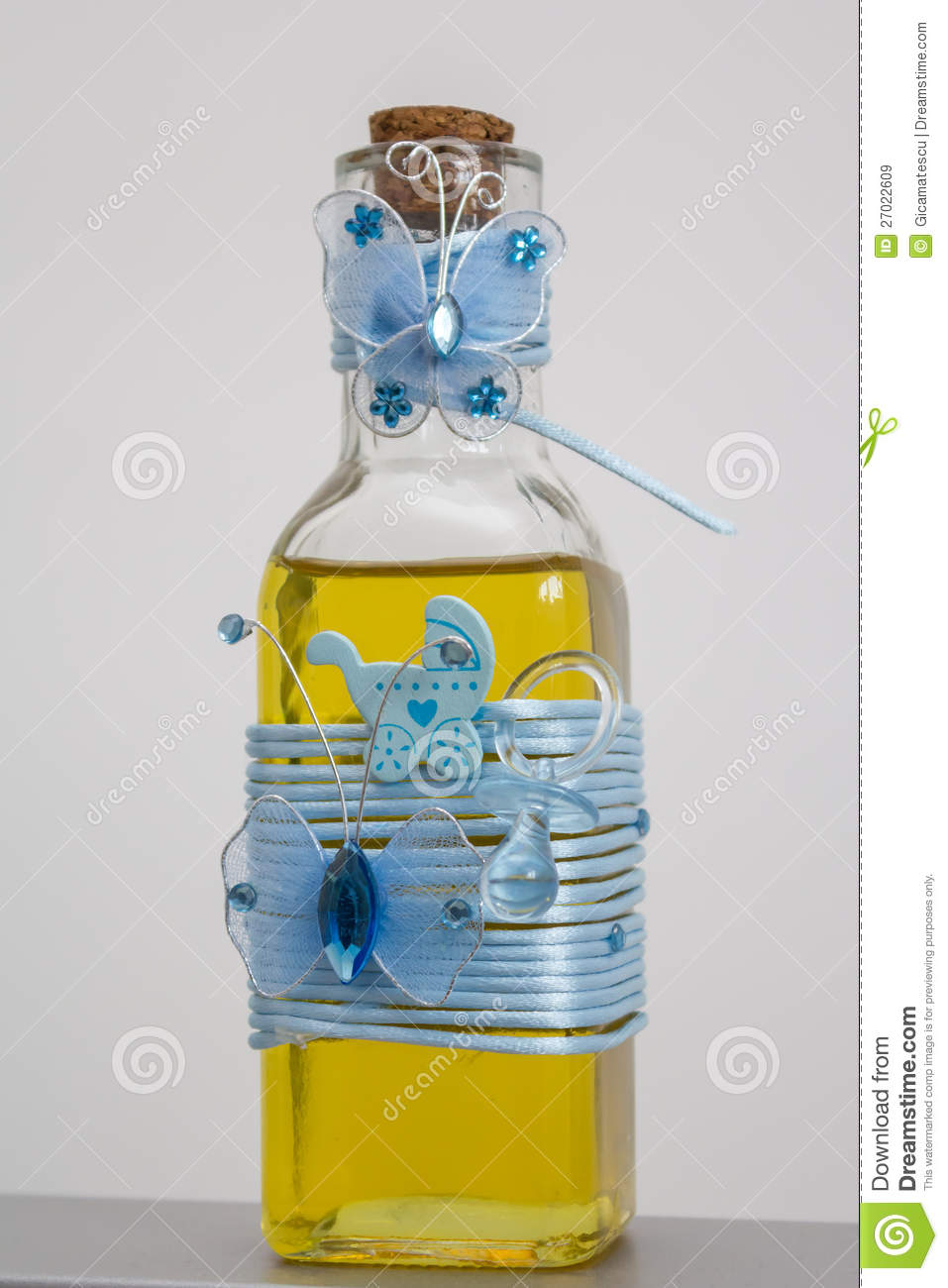 bottle with oil for christening royalty free stock images