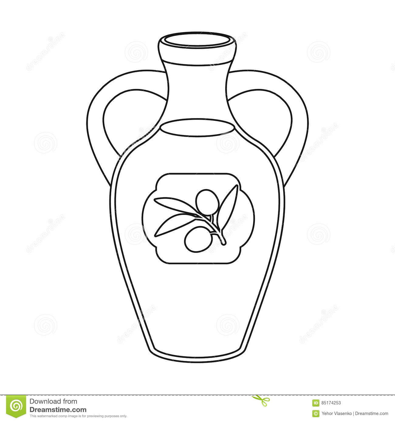Bottle Of Olive Oil Icon In Outline Style Isolated On White ...