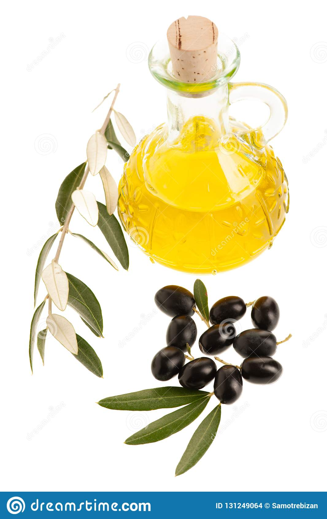 Bottle Of Olive Oil Isolated Over White Background Stock