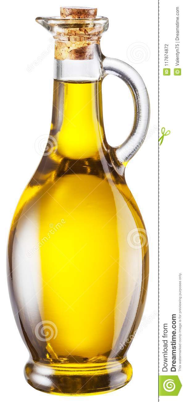 Bottle Of Olive Oil On White Background Clipping Path