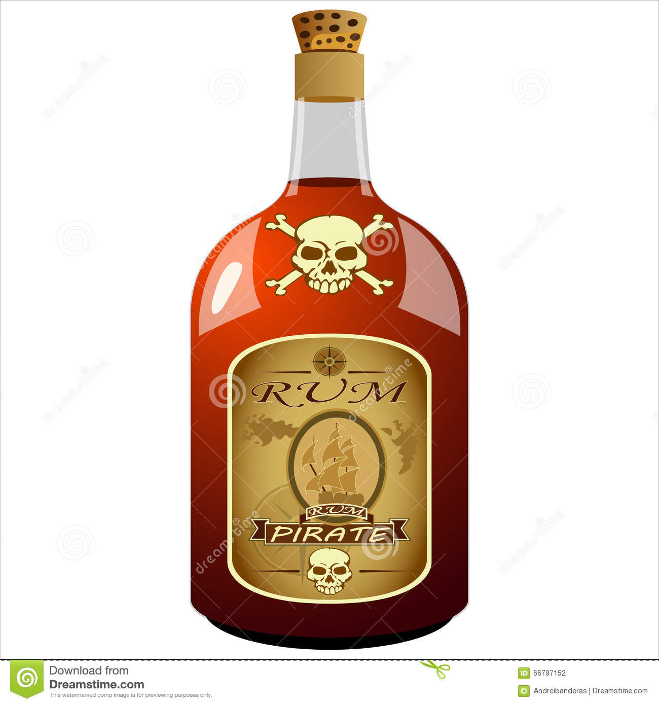 Bottle Of Pirate Rum Stock Vector Image 66797152