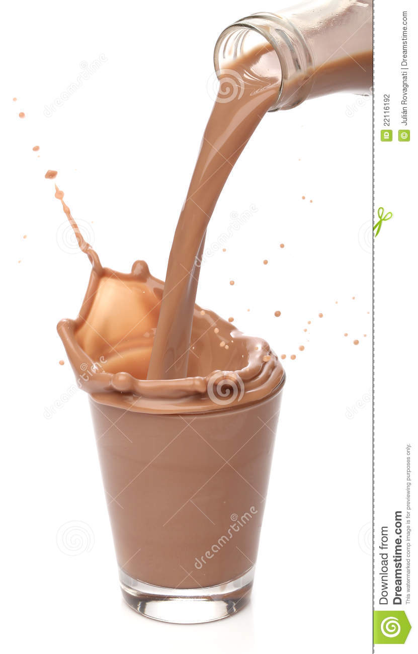 Bottle Pouring Milk Chocolate Stock Photo Image Of Brown