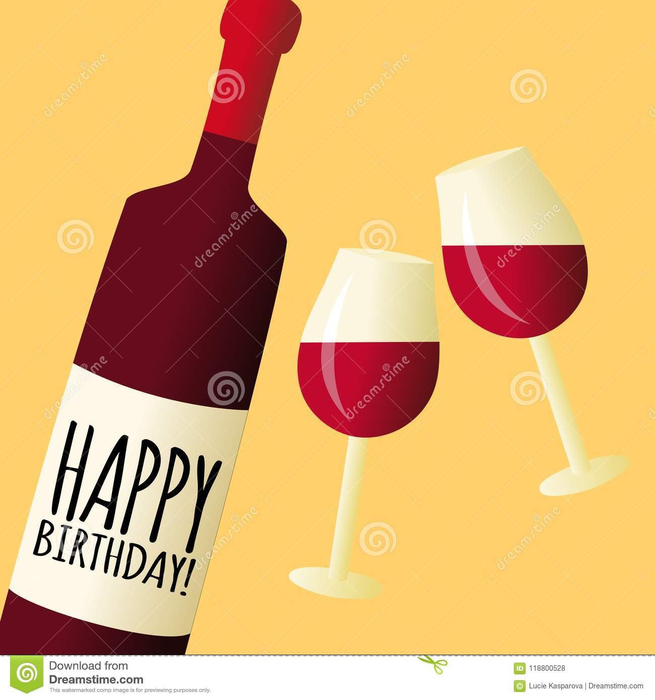 Bottle Of Wine With Glasses Happy Birthday Vector Illustration Card