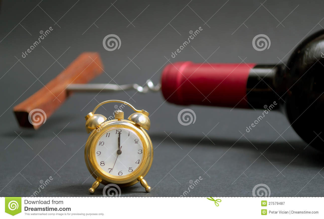 Glass Of Red Wine With Clock Background Stock Image ...