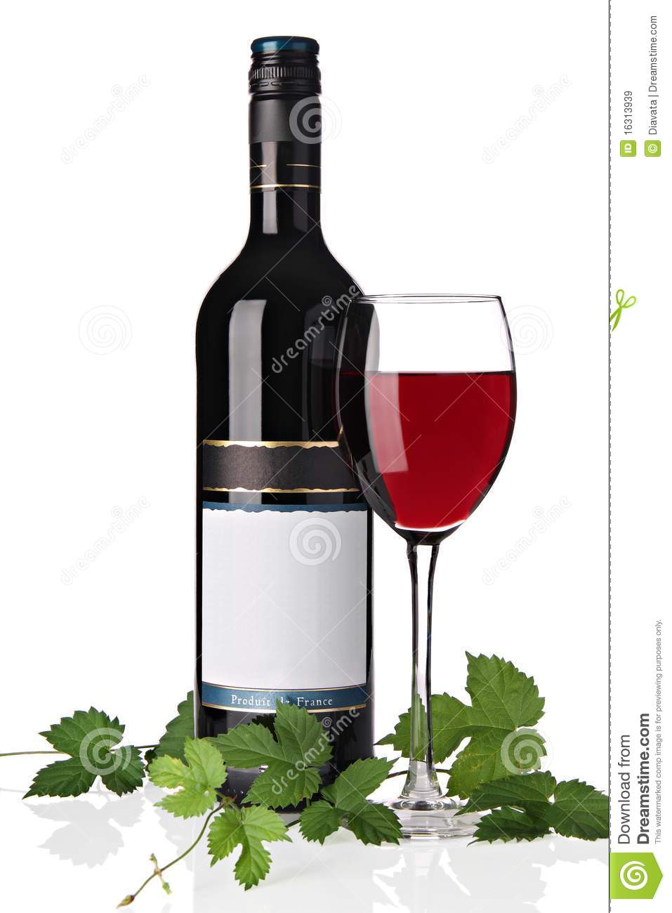 Bottle of red wine with wine glass