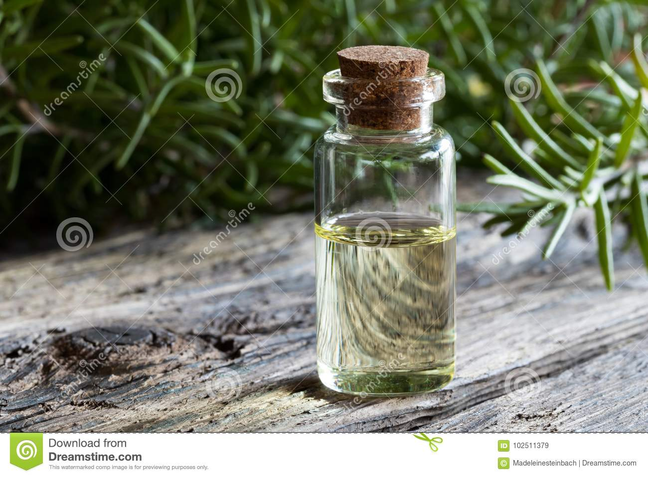 A bottle of rosemary essential oil with rosemary twigs