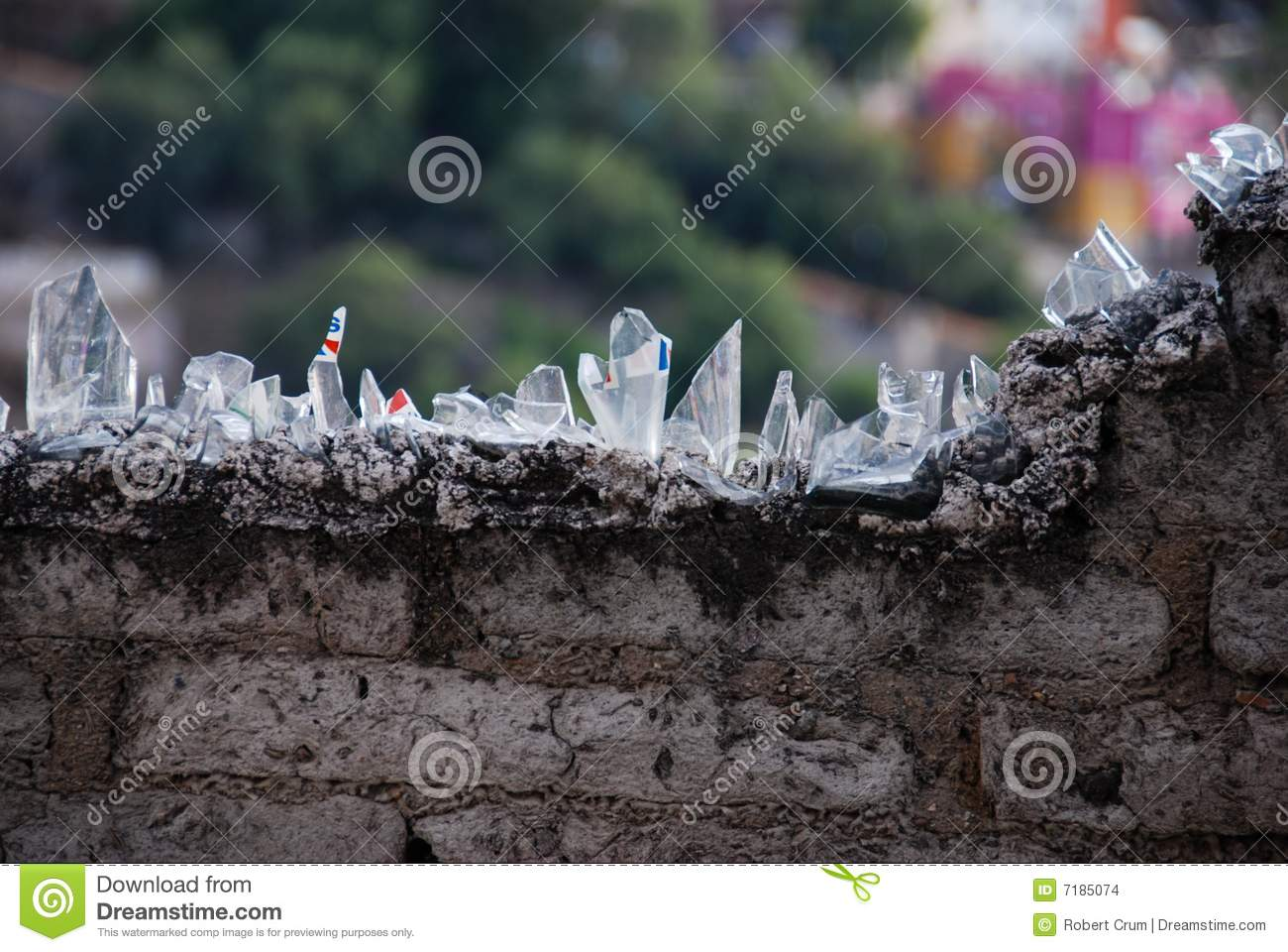 Bottle Shards On A Wall Stock Photo Image Of Cement