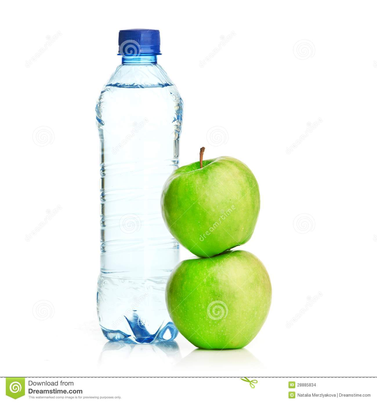 Bottle Of Sparkling Water And Green Apple Stock Images ...
