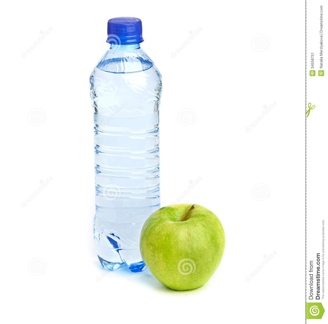 Bottle of sparkling water and green apple. See my other works in ...