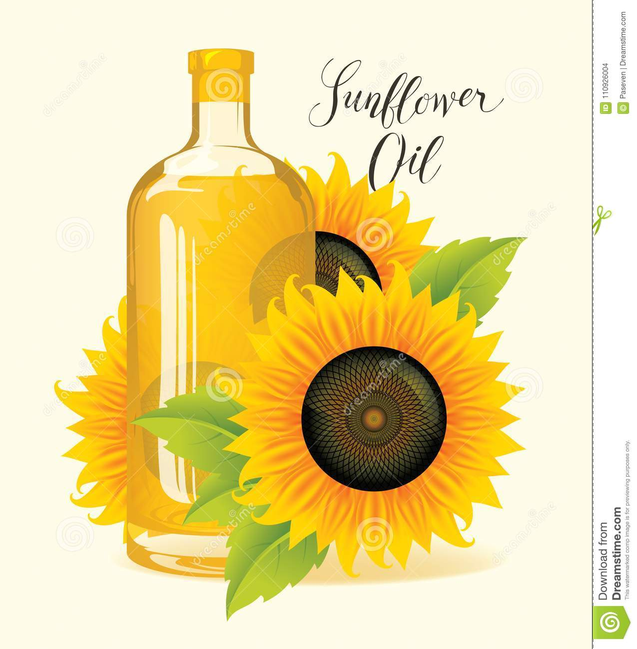 Bottle of sunflower oil with sunflowers and leaves