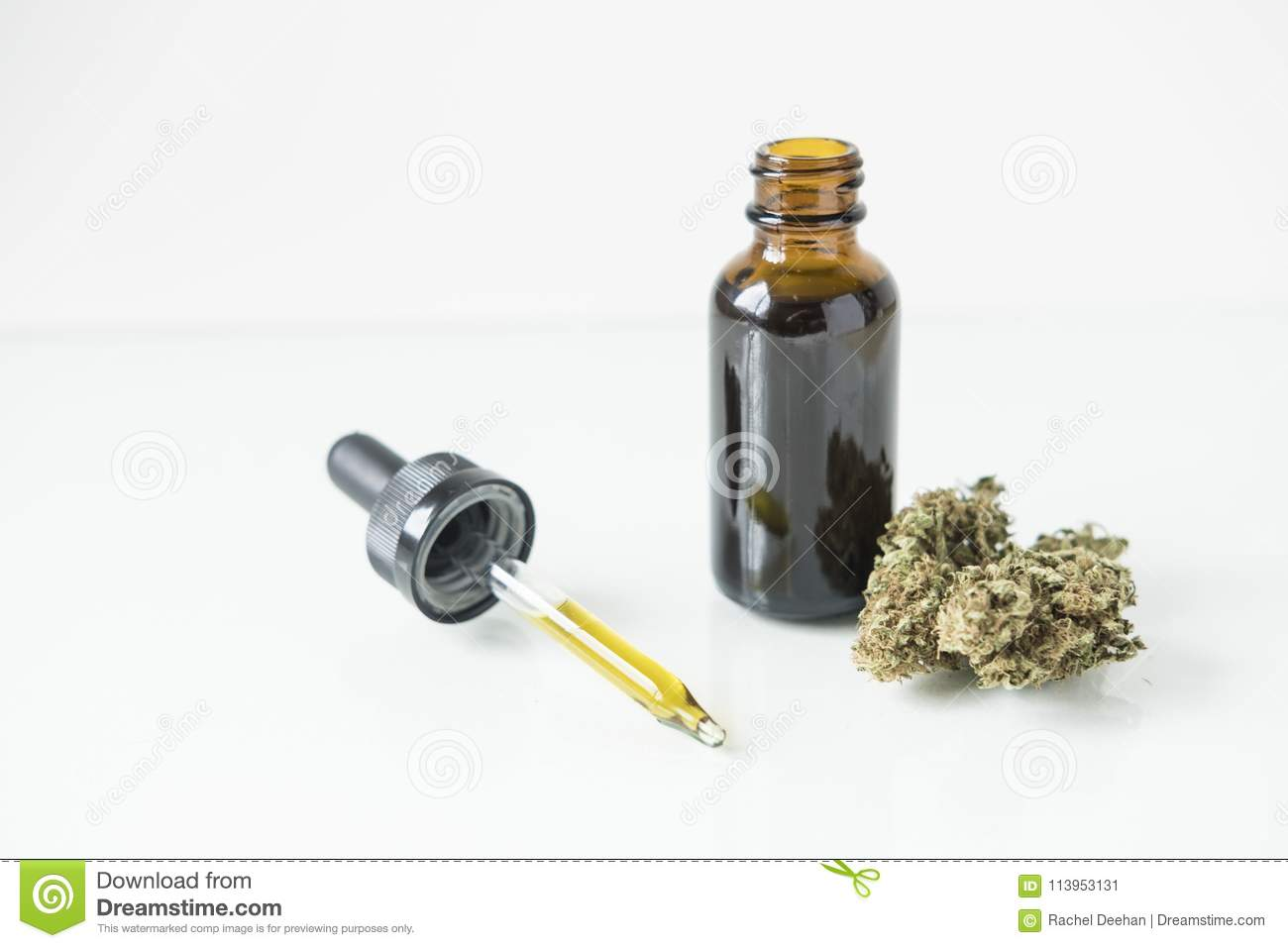 Tincture bottle with cannabis bud and dropper