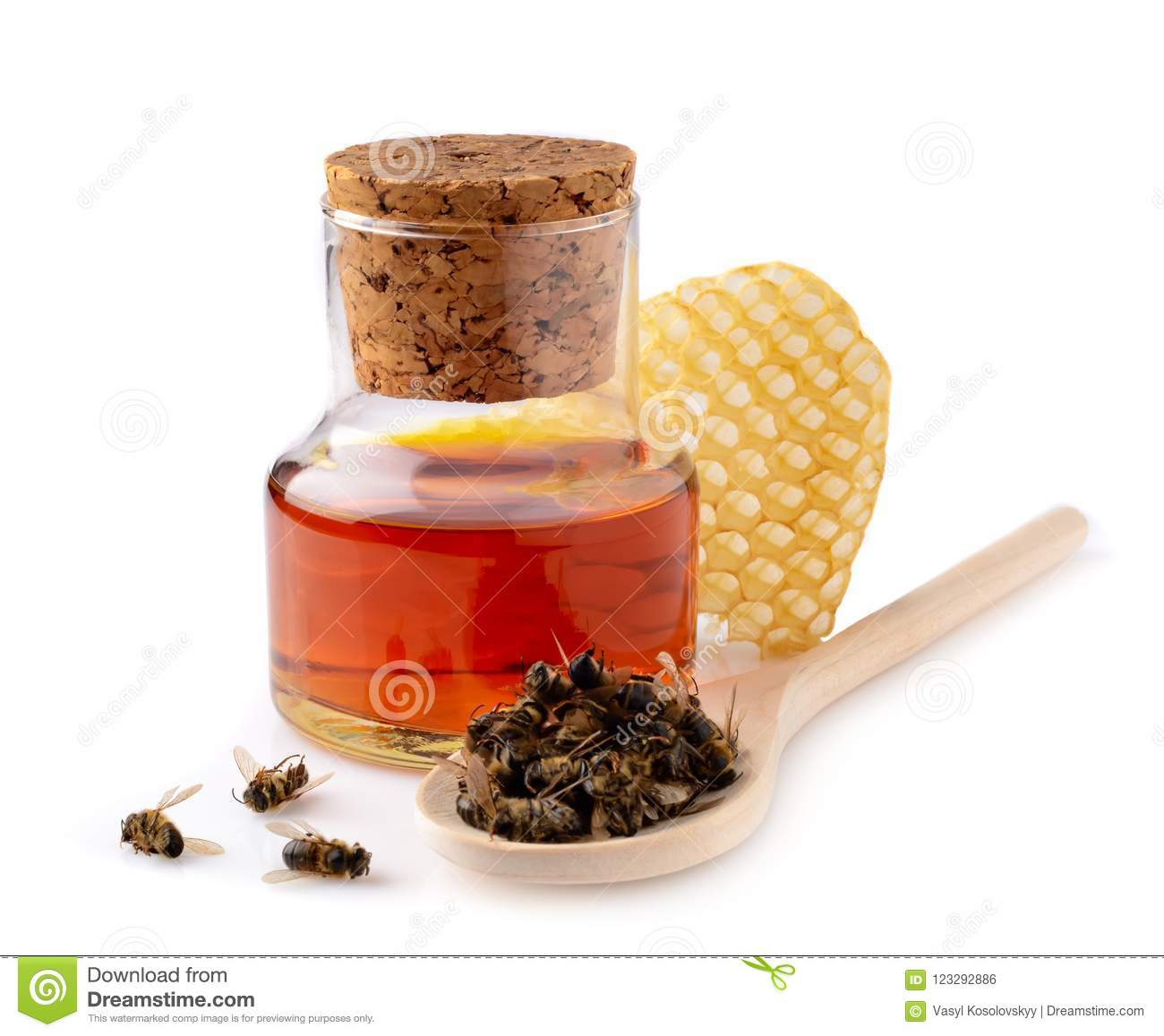 A bottle of tinctures on dead bees and dead bees in a wooden spoon. Treatment with dead bees. Dead bees do not buzz but