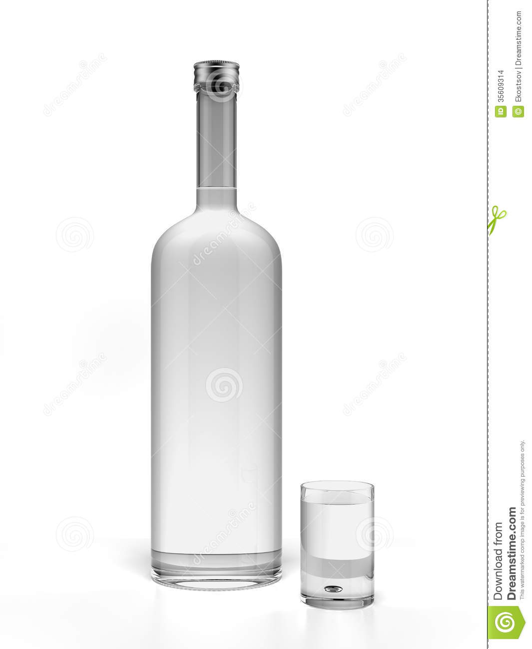 Bottle Of Vodka And Empty Shot Glass Stock Images Image