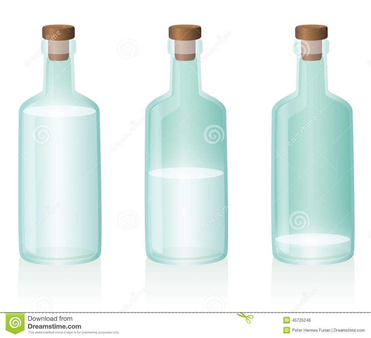 Three glass bottles, the first one is full, the second one is half ...