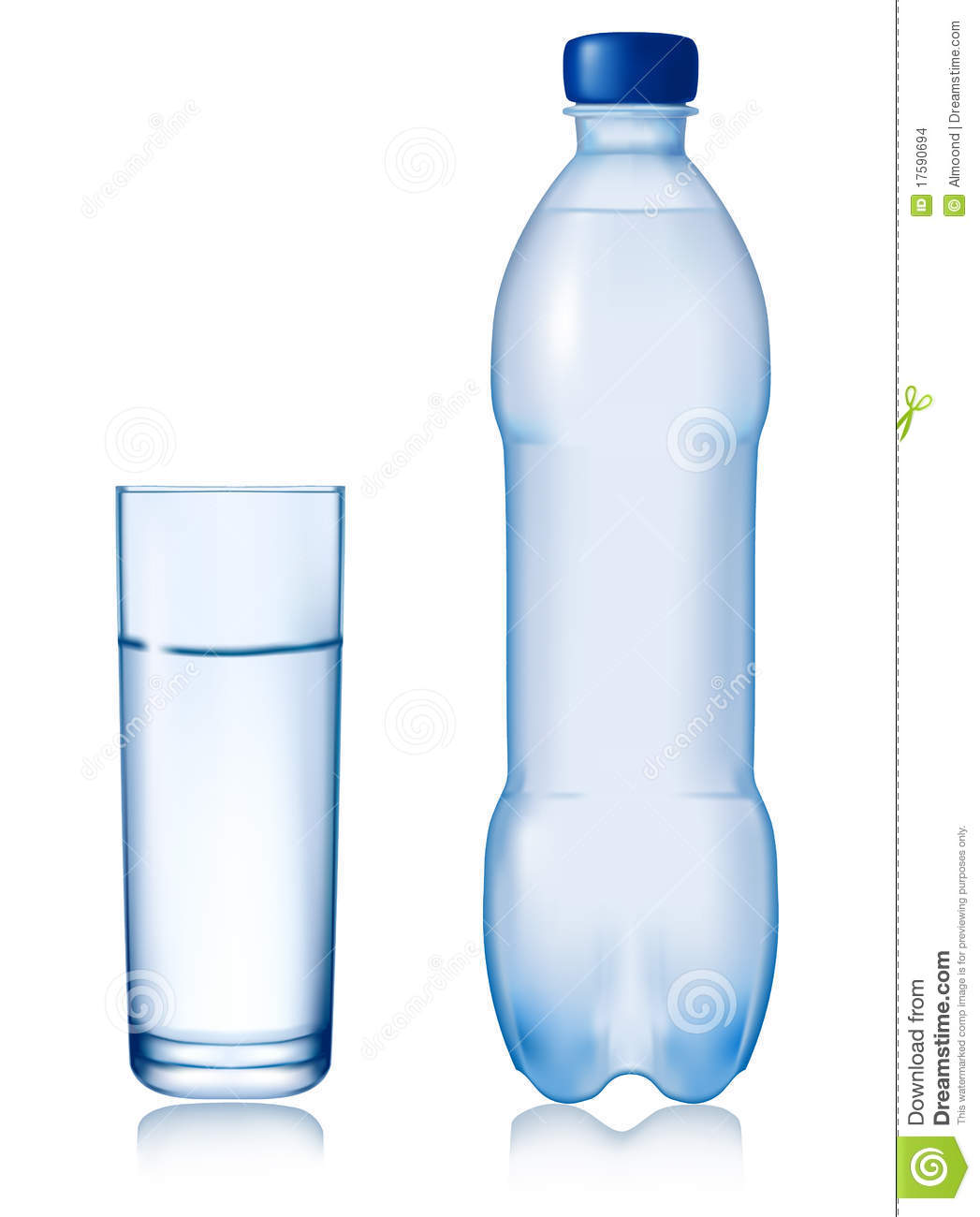 Water Bottle Vector: Bottle Of Water With Glass. Vector. Stock Images