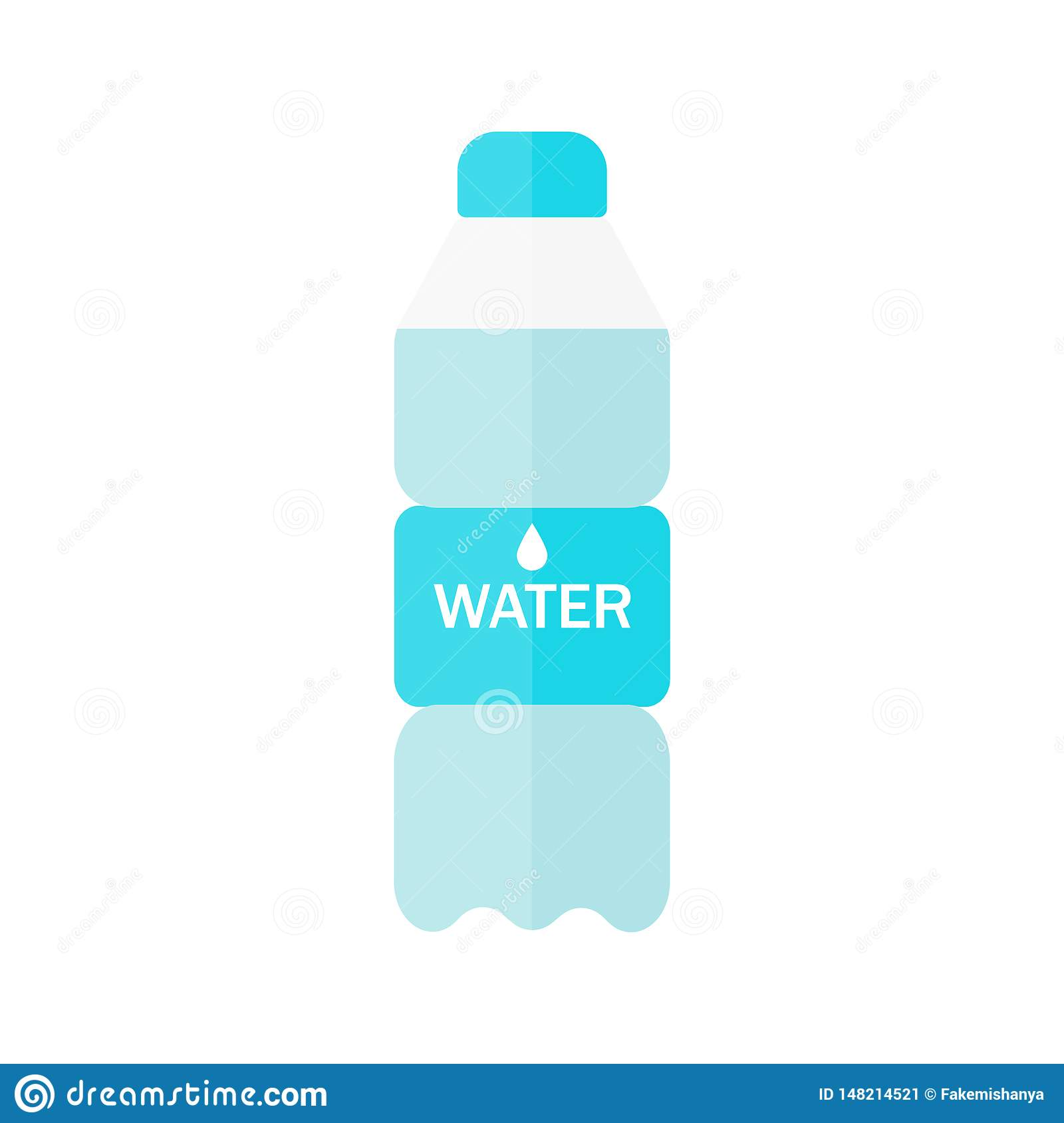 Bottle of water icon in flat style isolated on blue background. Vector illustration.