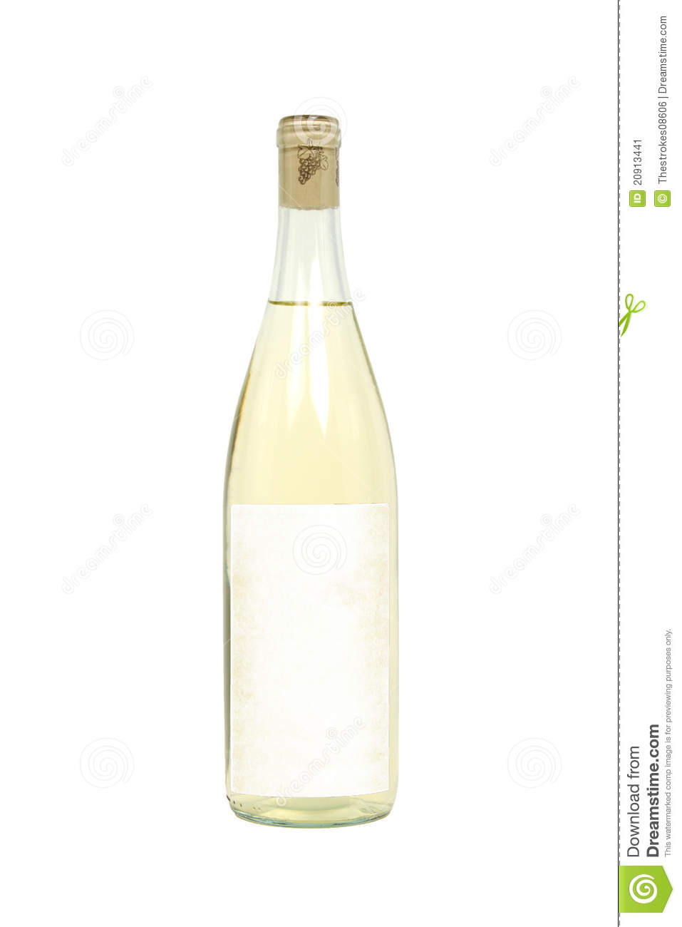 Bottle of White Wine with Blank Label Isolated on a White Background.