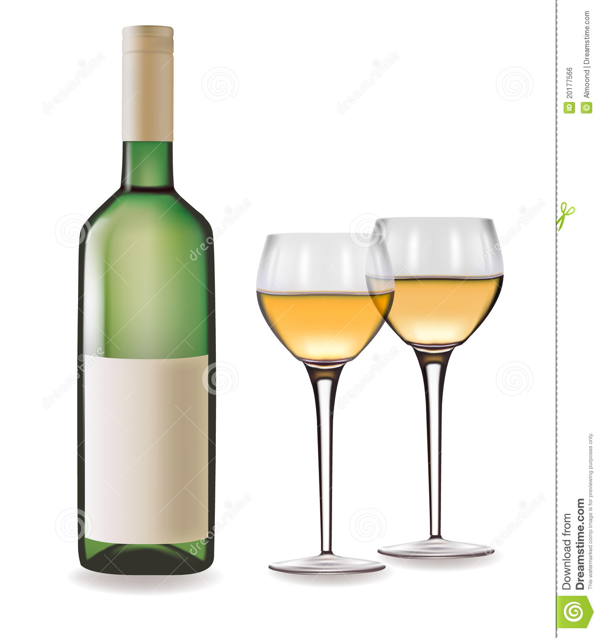 bottle of white wine and two glasses stock vector image 20177566. Black Bedroom Furniture Sets. Home Design Ideas