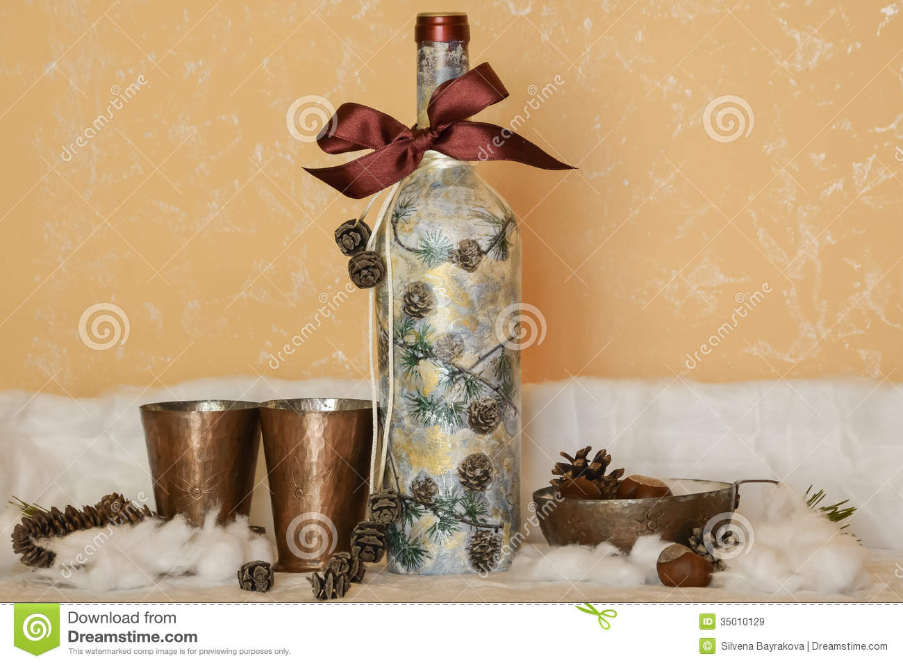 wine bottle decorations handmade a bottle of wine with a festive decoration royalty free 8481
