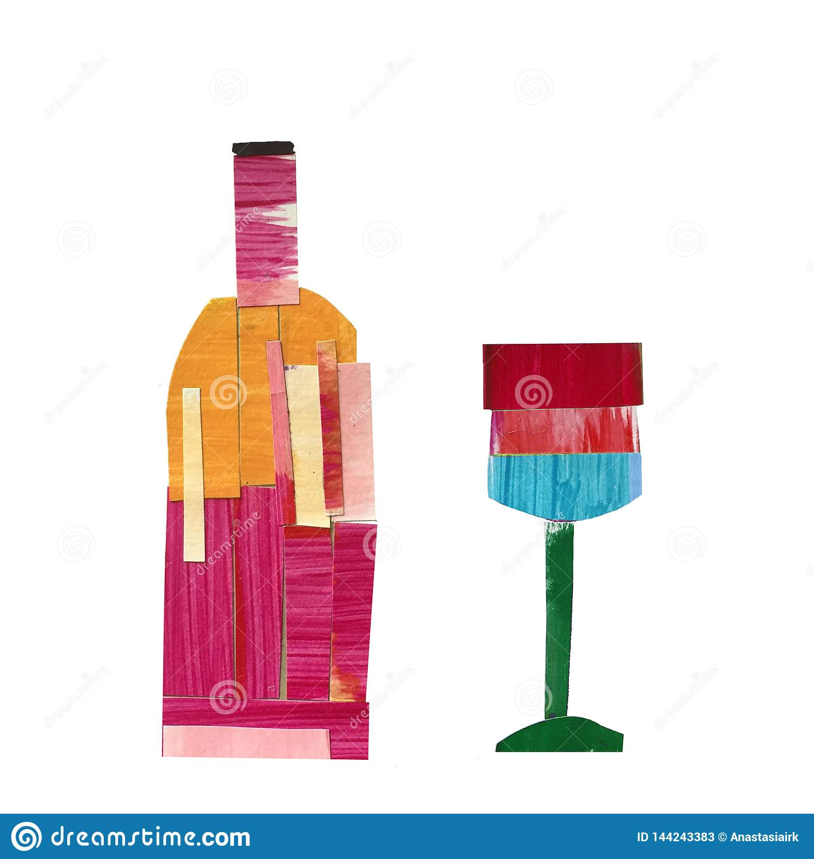 Bottle of wine with a glass in the technique of collage