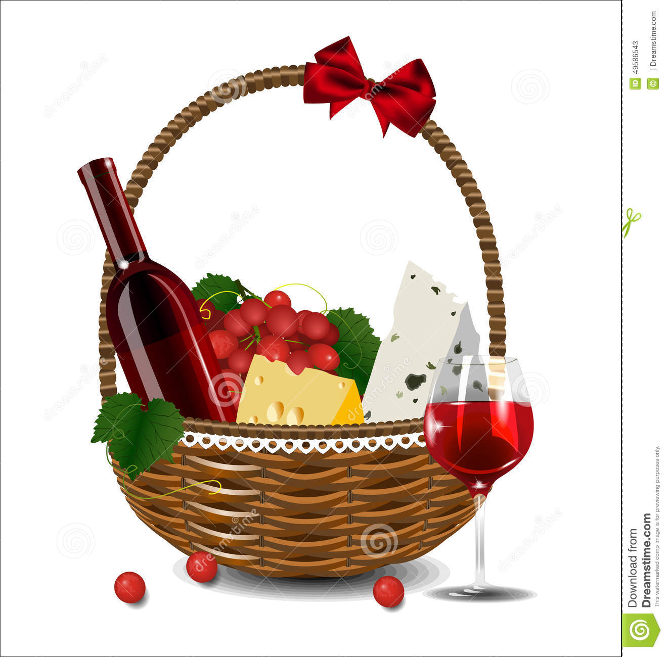 A Bottle Of Wine Grapes And Cheese In A Wicker Basket