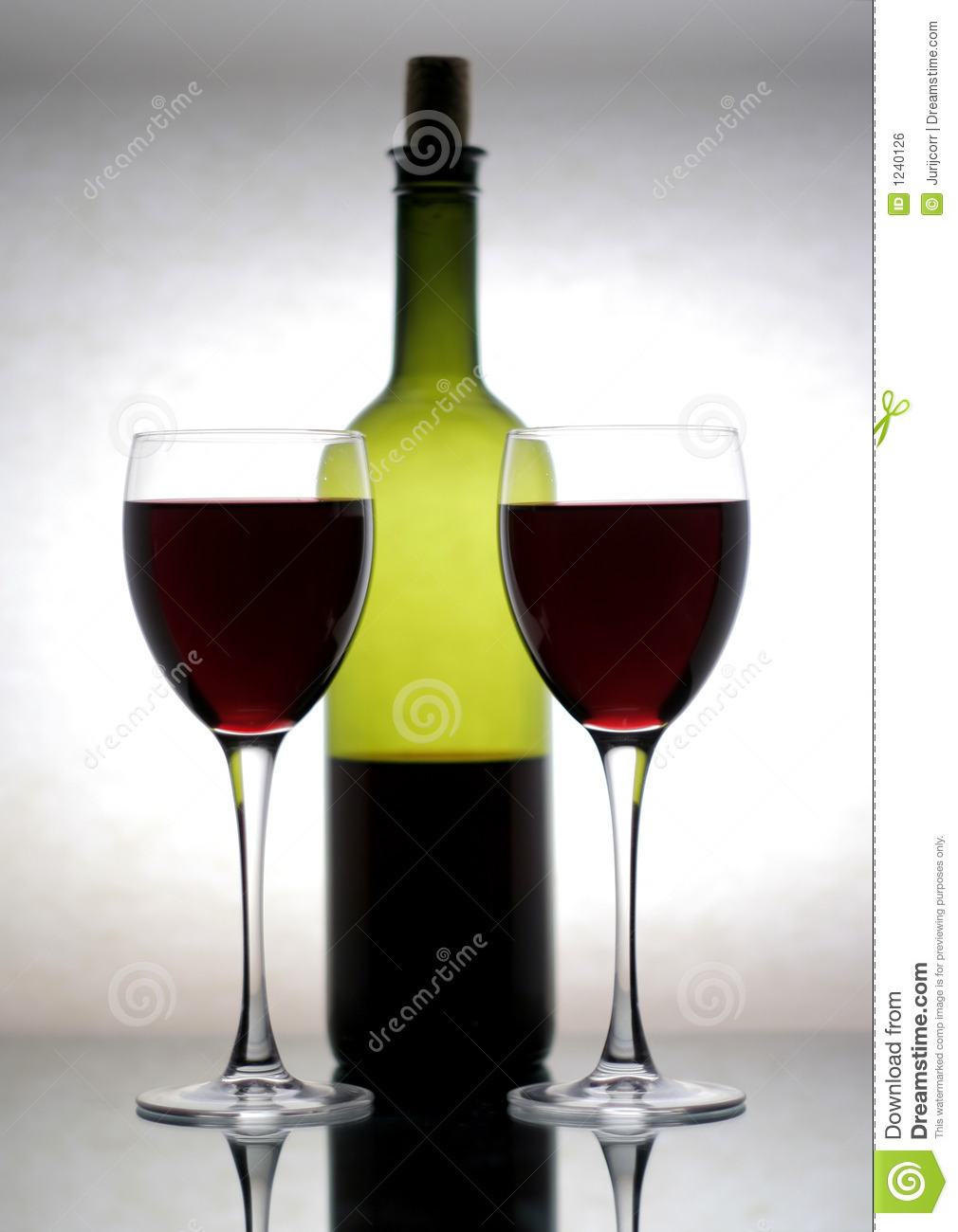 bottle of wine and two glasses royalty free stock image image 1240126. Black Bedroom Furniture Sets. Home Design Ideas