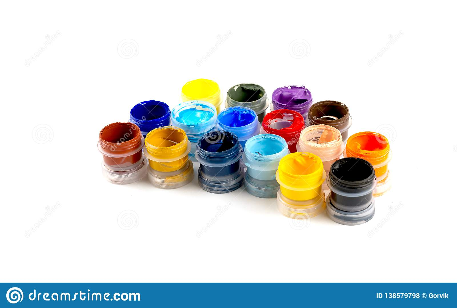 Bottles With Acrylic Paints Stock Photo Image Of Palette Material 138579798