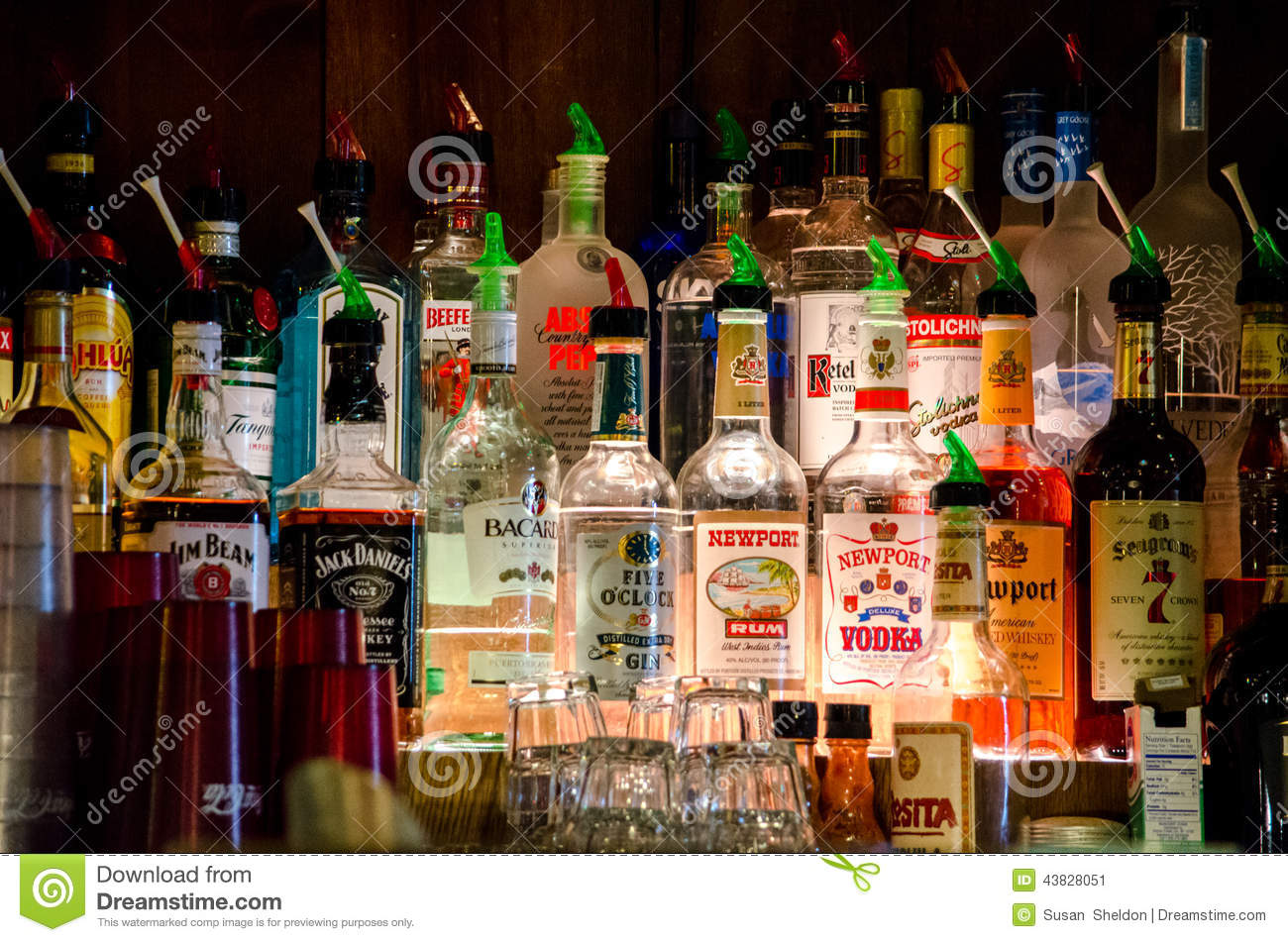 Alcohol On Alcoholic Display A Editorial At Different Bar 43828051 - Of Image Photo Bottles